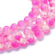 Baking Painted Transparent Crackle Glass Round, Hot Pink, 8.5~9mm