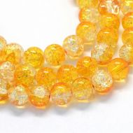 Baking Painted Transparent Crackle Glass Round, Gold, 8.5~9mm